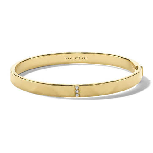3-Station Hinged Bangle in 18K Gold with Diamonds GB1067DIA