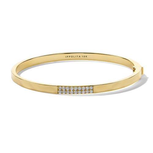 3-Station Hinged Bangle in 18K Gold with Diamonds GB1068DIA