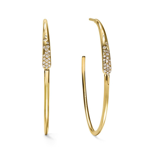 Pave Hoop Earrings in 18K Gold with Diamonds GE2029DIA