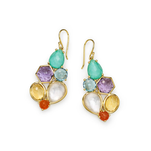 6 Stone Cluster Earrings in 18K Gold GE2033RAINBOW