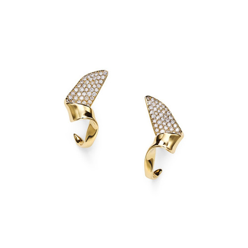 Small Twisted Ribbon Hoop Earrings in 18K Gold with Diamonds GE2037DIA