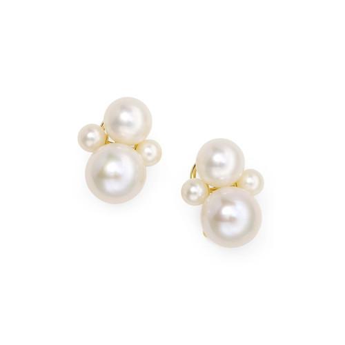 4-Bead Snowman Earrings in 18K Gold GE2042PRL