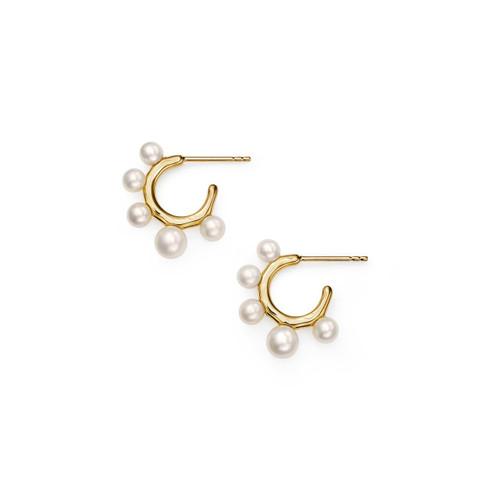 Teeny Hoop Earrings with Graduated Stones in 18K Gold GE2046PRL