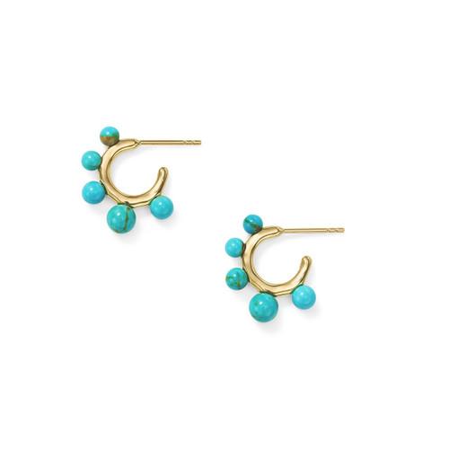 Teeny Hoop Earrings with Graduated Stones in 18K Gold GE2046TQGM
