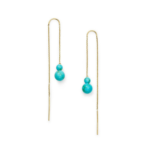 2-Stone Drop Thread Earrings in 18K Gold GE2047TQGM