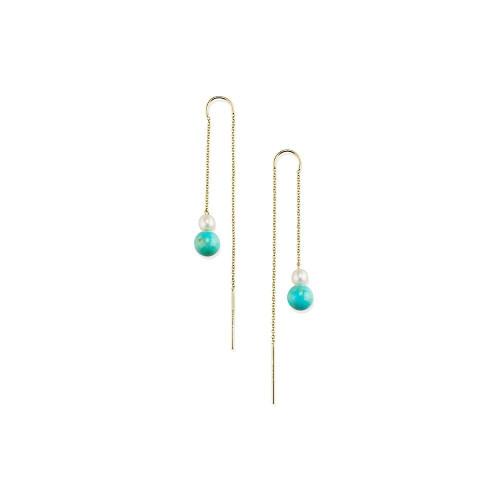 2-Stone Drop Thread Earrings in 18K Gold GE2047TQGMPRL