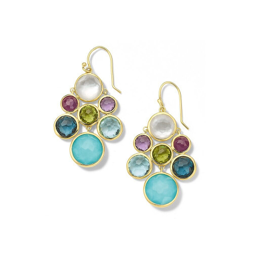 Multi-Stone Cascade Earrings in 18K Gold GE2055RAINBOW