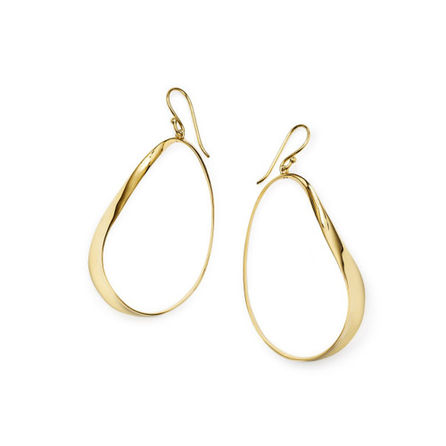Hanging Twisted Ribbon Earrings in 18K Gold GE2056