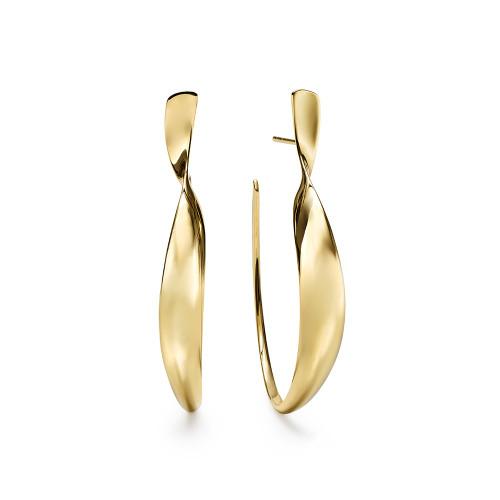 Medium Twisted Ribbon Hoop Earrings in 18K Gold GE2069