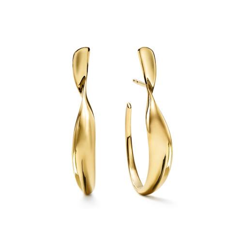 Small Twisted Ribbon Hoop Earrings in 18K Gold GE2070