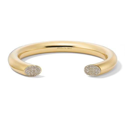 Thick Tube Cuff in 18K Gold with Diamonds GB1073DIA