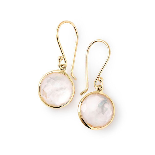 Small Single Drop Earrings in 18K Gold GE209DFMOP