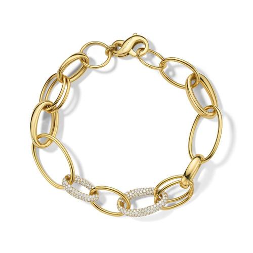 Link Bracelet in 18K Gold with Diamonds GB1076DIA