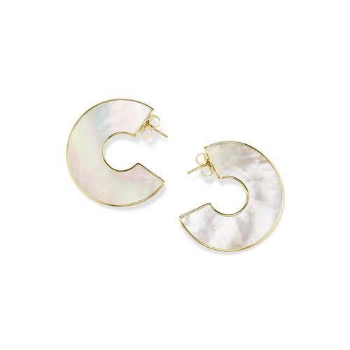 Shell Hoop Earrings in 18K Gold GE2135MOP