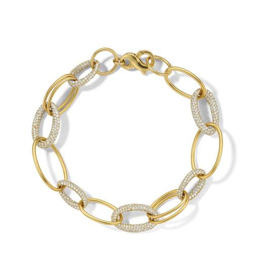 Link Bracelet in 18K Gold with Diamonds GB1077DIA