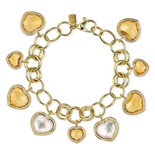 Multi Heart Charm Bracelet in 18K Gold with Diamonds GB1082DFMOPOCDIA