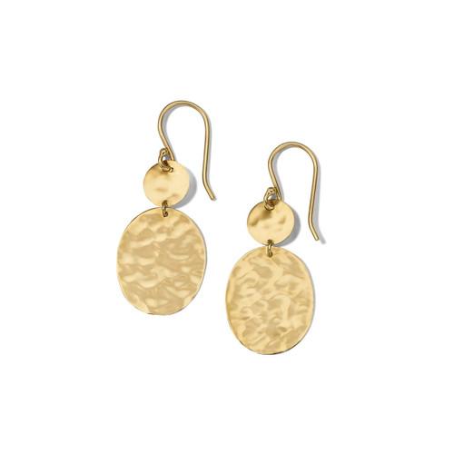 Crinkle Snowman Drop Earrings in 18K Gold GE2216