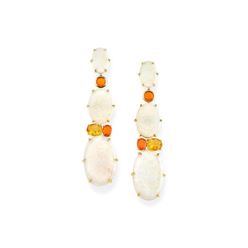 3-Stone Drop Earrings in 18K Gold GE2229AOPFOP