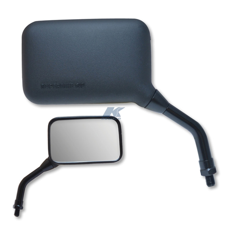 AX Black Composite Left Hand Mirror -Short Stem