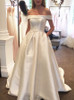 Satin Off the Shoulder Wedding Dresses,A-line Bridal Dress with Pockets,11963