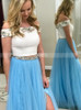 Two Piece Lace Tulle Prom Dress,Prom Dress for Teens,11979