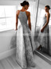 Silver High Low Prom Dresses,Lace Homecoming Dress,11982
