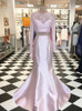 Pink Prom Dresses with Sleeves,Two Piece Satin Prom Dress for Teens,11993
