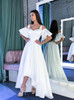 White A-line Prom Dresses,High Low Homecoming Dress,11995