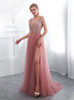 Tulle Prom Dress with Slit,Beaded Evening Dress,12013