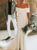 Satin Off the Shoulder Wedding Dresses,Modest Wedding Dress,12020