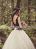 Two Tone Ball Gown Wedding Dress,Vintage Bridal Gown,12026