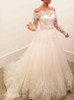 Princess Wedding Dress with Sleeves,Off the Shoulder Bridal Gown,12030
