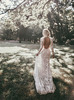 Vintage Wedding Dress,Open Back Lace Fitted Wedding Dress,High Neck Wedding Dress,12032