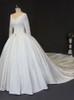 Vintage Wedding Ball Gown,Illusion Sleeves Satin Wedding Gown,12046