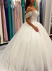 Ball Gown Wedding Dresses,Off the Shoulder Bridal Gown with Long Train,12057