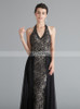 Black Prom Dresses,Lace Halter Prom Dress with Tulle Overskirt,12066