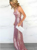 Pink Sequined Evening Dresses,Backless Prom Dress,12076