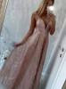 A-line Prom Dresses,Sequined Prom Dress,V-neck Evening Dress,12079