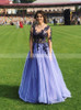 See Through Prom Dress with Long Sleeves,Princess Tulle Evening Dresses,12104