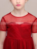Red Tulle Knee Length Junior Bridesmaid / Party Dress with Sleeves,12133