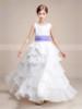 A-line Chiffon Layered Floor Length Junior Bridesmaid / Flower Girl Dress with Belt,12136