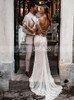 Boho Sheath Wedding Dress with Illusion Sleeves,Open Back Sexy Wedding Dress,12140