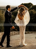 Fit and Flare Gown with Flutter Draped Sleeves,Romantic Wedding Dress,12150