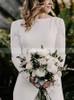 Long Sleeves Sheath Wedding Dress,Crepe Wedding Dress,12154