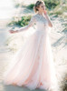 Blushing Pink Tulle Outdoor Wedding Dress,High Neck Wedding Dress with Flounce Sleeves,12168