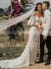 Boho Lace Wedding Dress with Straps,Fitted Lace Dress with Detachable Sleeves,12169