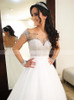 Princess Tulle Bridal Dress with Illusion Sleeves,Beaded Wedding Dress,12176