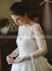 A-line Wedding Gown with Illusion Sleeves,Satin Bridal Dress with Delicate Floral Lace Appliques,12179