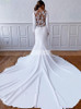 Modest Mermaid Crepe Wedding Dress with Long Sleeves,12204