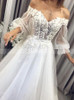 Boho Wedding Dress with Off the Shoulder,Illusion Sleeves Bridal Dress,12207